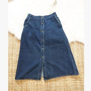 Vintage 80's high waisted denim button front skirt